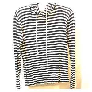 J. Crew Black and White Striped Hoodie Size S